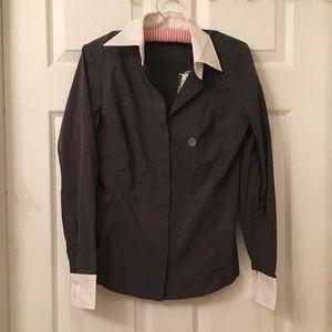 NWT NY & Co gray/white button down shirt small